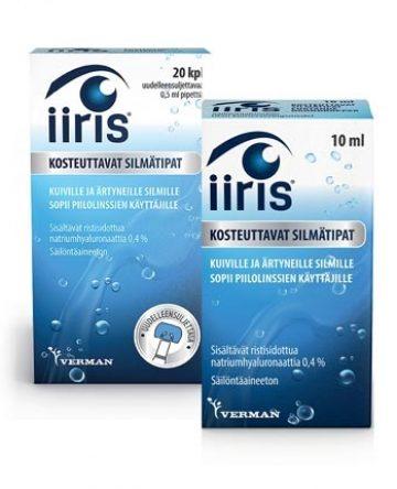 Iiris kosteuttavat silmätipat kuiville ja ärtyneille silmille. Sopii piilolinssien käyttäjille.